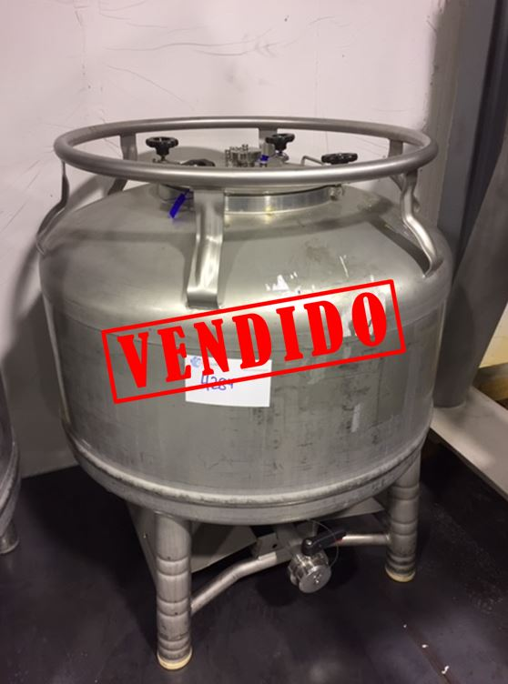 USED STAINLESS STEEL 400 LITRES TANK WITH CONICAL BOTTOM