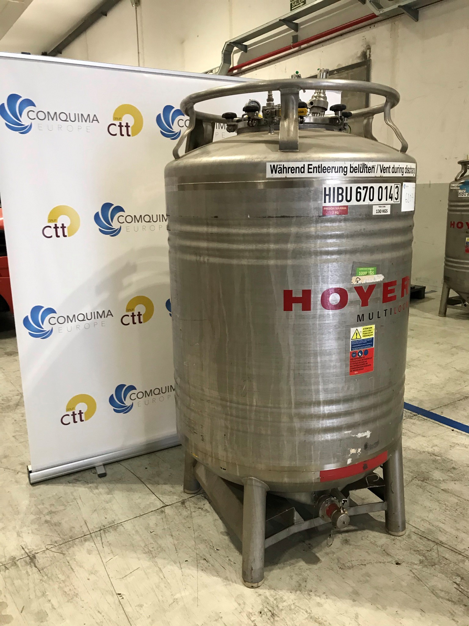 USED STAINLESS STEEL 316Ti 1000 LITRES TANK